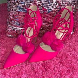 Fuchsia colored lace up heels